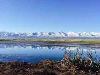 天山雪山湖泊自然风景图片桌面壁纸