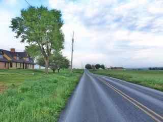 美丽的农场公路风景图片