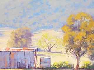 油画风景之农场图片壁纸 二