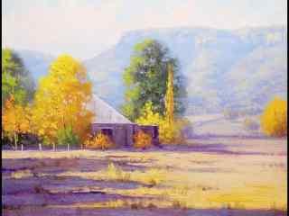油画风景之农场图片壁纸 一