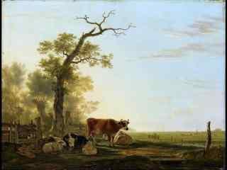油画风景之农场图片壁纸 三
