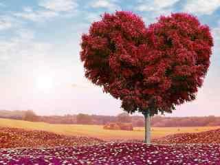 超好看爱心树唯美