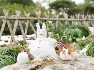 可爱创意的小雪人风景图片