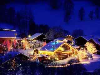 唯美的圣诞节雪景桌面壁纸
