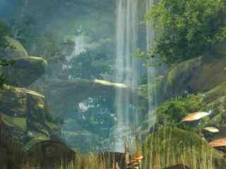 唯美的动画瀑布场景风景壁纸