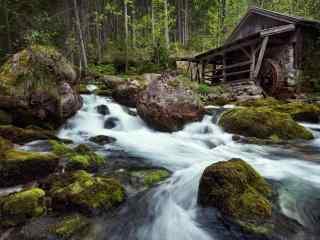 林间小屋瀑布风景