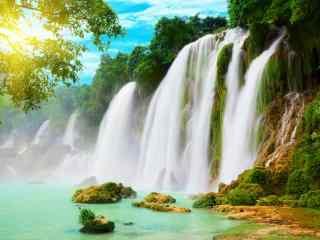 温泉瀑布风景图片桌面壁纸