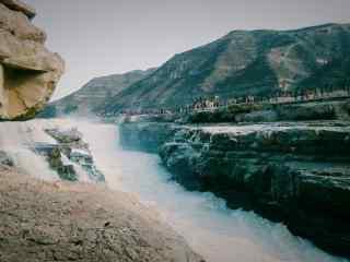 壶口瀑布文艺风景桌面壁纸