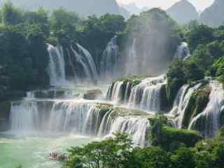 秀美的德天瀑布远景风景图片