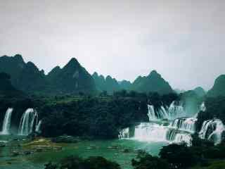 唯美小清新德天瀑布全景风景图片