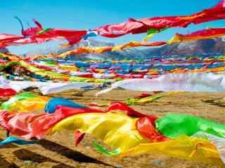 彩色风马旗唯美图片桌面壁纸
