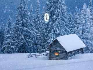 冬日雪景冬至日特