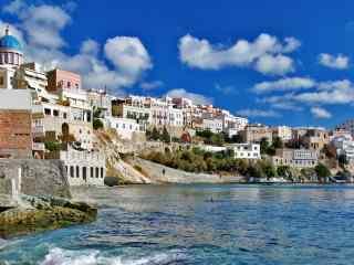 圣托里尼唯美海边风景图片高清桌面壁纸