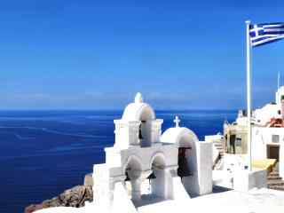 圣托里尼独特蓝色风景图片高清桌面壁纸