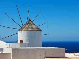 圣托里尼唯美风车小清新图片高清桌面壁