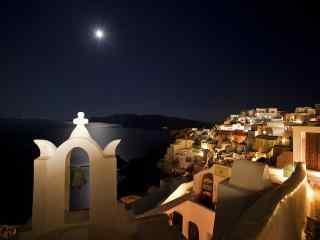 圣托里尼唯美夜景明亮月光图片高清桌面壁纸