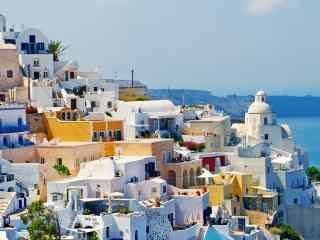 圣托里尼五彩颜色的特色建筑风景图片高清桌面壁纸