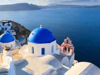 圣托里尼唯美蓝色风景图片高清桌面壁纸
