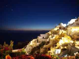 圣托里尼梦幻夜色灯光风景图片高清桌面壁纸
