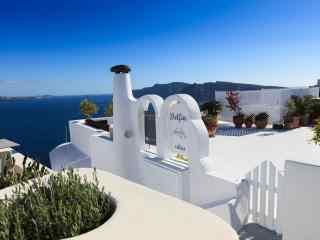 圣托里尼蔚蓝风景图片高清桌面壁纸