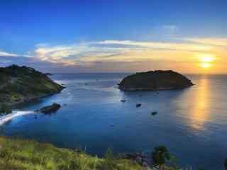 普吉岛海上夕阳唯美风景图片桌面壁纸