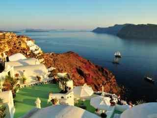 圣托里尼唯美日落风景图片高清桌面壁纸