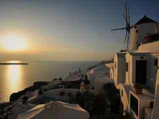 圣托里尼唯美海上落日风景图片高清桌面壁纸