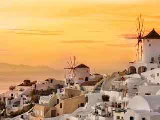 圣托里尼唯美粉色夕阳美景图片高清桌面壁纸