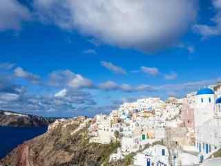 圣托里尼海岛全貌唯美风景图片高清桌面壁纸