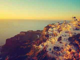 圣托里尼唯美海边落日风景图片高清桌面壁纸