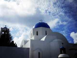 圣托里尼万里晴空蓝天白云风景图高清桌面壁纸