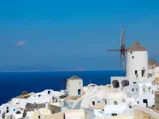 圣托里尼碧海蓝天唯美小清新风景图片高清桌面壁纸