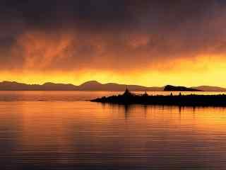 唯美的山水间夕阳风景图片