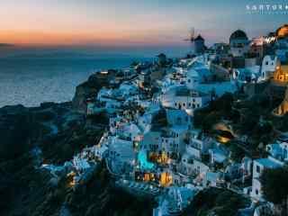 圣托里尼唯美夜色风景图片高清桌面壁纸