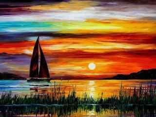 美丽的夕阳风景油画壁纸