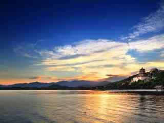 美丽的颐和园夕阳风景图片