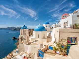 圣托里尼经典蓝顶教堂建筑风景图片高清桌面壁纸