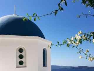 圣托里尼唯美小清新可爱建筑风景图片高清桌面壁纸