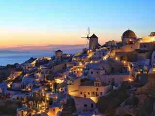 圣托里尼灯光夜景唯美风景图片高清桌面壁纸