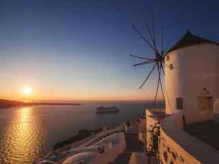 圣托里尼唯美日出风景图片高清桌面壁纸