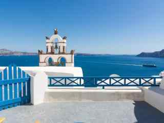 圣托里尼蓝色建筑风景图片高清桌面壁纸
