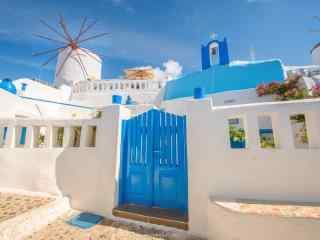 圣托里尼特色风格蓝白建筑风景图片高清桌面壁纸