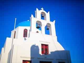 圣托里尼蓝白色教堂建筑风景图片高清桌面壁纸