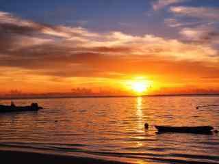 唯美的塞班岛夕阳风景图片