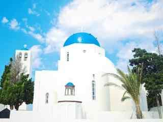 圣托里尼小清新风格教堂建筑图片高清桌面壁纸