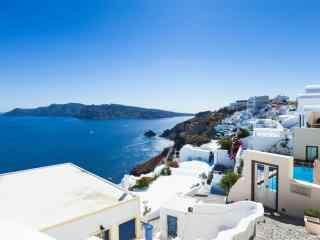 圣托里尼唯美蓝白色风景图片高清桌面壁纸