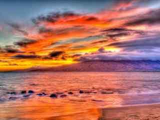 超唯美海边夕阳风景图片桌面壁纸