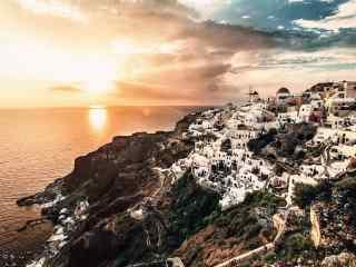 圣托里尼希腊小岛唯美日出风景图片桌面壁纸