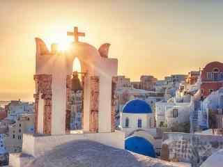 圣托里尼唯美夕阳图片高清桌面壁纸