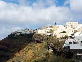 美丽的圣托里尼海边悬崖图片高清桌面壁纸